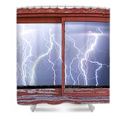 Electric Skies Red Barn Picture Window Frame Photo Art  Shower Curtain