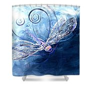 Electrified Dragonfly Shower Curtain