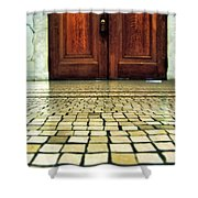 Elegant Door And Mosaic Floor Shower Curtain