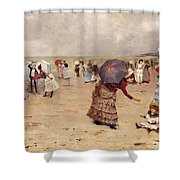 Elegant Figures On A Beach Shower Curtain