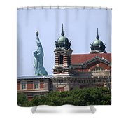 Ellis Island And Statue Of Liberty Shower Curtain