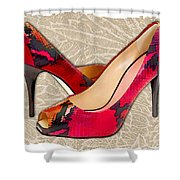 Embossed Leather Reptile Pumps  Shower Curtain