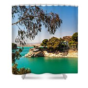 Emerald Lake With Duke House. El Chorro. Spain Shower Curtain