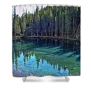 Emerald Mountain Pond Shower Curtain