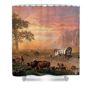 Emigrants Crossing The Plains Shower Curtain by Photo Researchers