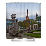 Empire State Plaza And Cathedral Of The Immaculate Conception Shower Curtain