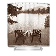 Empty Chairs On Waterfront Shower Curtain