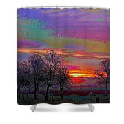 Enameled Sunrise Of Northern California Shower Curtain