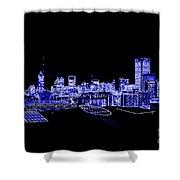 Energetic Atlanta Skyline - Digital Art Shower Curtain