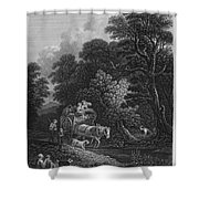 England: Market Cart Shower Curtain