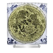 Engraving Of Moon, 1645 Shower Curtain by Science Source