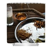 Enjoying A Plate Of Rajasthani Food On A Steel Plate On A Bamboo Table Shower Curtain