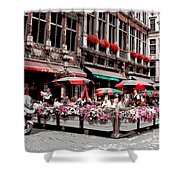 Enjoying The Grand Place Shower Curtain