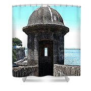 Entrance To Sentry Tower Castillo San Felipe Del Morro Fortress San Juan Puerto Rico Poster Edges Shower Curtain by Shawn O'Brien