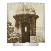 Entrance To Sentry Tower Castillo San Felipe Del Morro Fortress San Juan Puerto Rico Vintage Shower Curtain