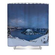 Enveloping Storm At Crater Lake Shower Curtain