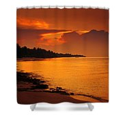 Epic Sunset In The Tropical Maldivian Island Shower Curtain