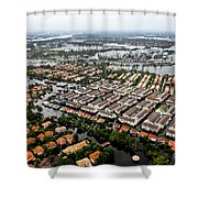 Erial View Of Flood Waters Affecting An Shower Curtain