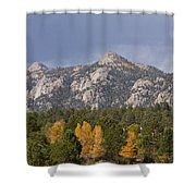 Estes Park Autumn Lake View Vertical Shower Curtain