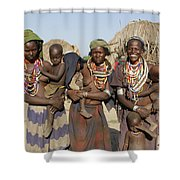 Ethiopia-south Three Moms And Their Kiddos Shower Curtain