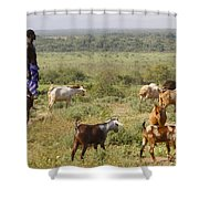 Ethiopia-south Tribal Goat Herder Shower Curtain