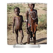 Ethiopia-south Tribesman Boy And Sister No.1 Shower Curtain