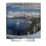Evening At Crater Lake Panorama Shower Curtain