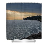 Evening Light Over Miramare Castle Shower Curtain