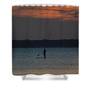 Evening Paddleboarder Shower Curtain