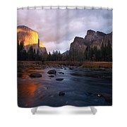 Evening Sun Lights Up El Capitan Shower Curtain
