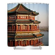 Evening Temple Of The Fragrant Buddha Shower Curtain by Mike Reid