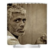 Exhaling In Lucknow Shower Curtain