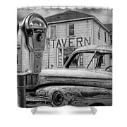 Expired A Black And White Photograph Of A Tavern Parking Meters And Vintage Junk Auto Shower Curtain
