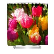 Expressionistic Spring Tulip Explosion Shower Curtain