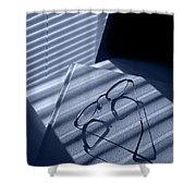 Eye Glasses Book And Venetian Blind In Blue Shower Curtain