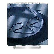 Eye Glasses On A Plate In Blue Shower Curtain