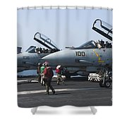 F-14d Tomcats On The Flight Deck Of Uss Shower Curtain