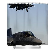 F-35b Lighnting II Variants Land Aboard Shower Curtain