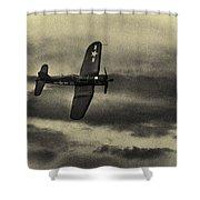 F4u Corsair In Sepia Shower Curtain
