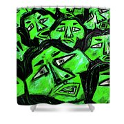 Faces - Green Shower Curtain