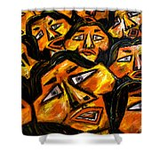 Faces Yellow Shower Curtain