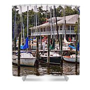 Fairhope Yacht Club Sailboat Masts Shower Curtain