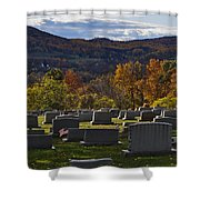 Fairview Cemetery In Autumn Shower Curtain