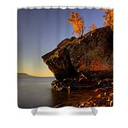Fall Colours In The Squaw Bay Fallen Rock Shower Curtain
