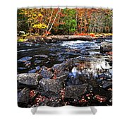 Fall Forest And River Landscape Shower Curtain