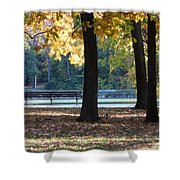 Fall Park Bench 1 Shower Curtain