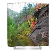 Fall Peeks From Behind The Rocks Shower Curtain by Heather Kirk
