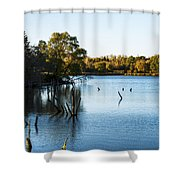 Fall Sunset At Standing Bear Lake Shower Curtain