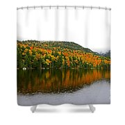 Fall View Of Saco Lake And Elephants Head Shower Curtain