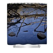 Fallen Tree Trunk With Reflections On The Muskegon Rive Shower Curtain